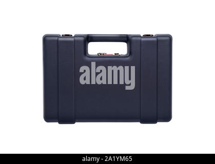 Blue plastic case with combination locks for weapons and ammunition isolate on a white background. - Stock Photo