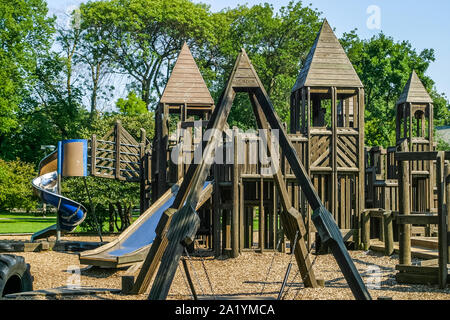 Wooden playground equipment - Stock Photo