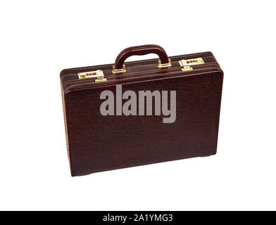 Brown leather suitcase with combination lock and gold locks isolated on white background. Briefcase for important business documents and papers. - Stock Photo