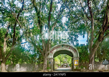 The entrance to Ponce de Leon's Fountain of Youth Archaeological Park is pictured, Sept. 6, 2019, in St. Augustine, Florida. - Stock Photo