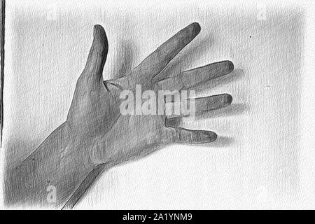 Pencil painted sketch drawing of a human femaile hand showing different gestures - Stock Photo