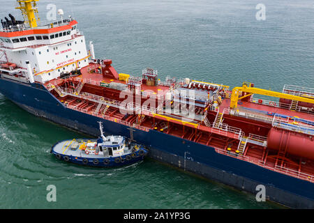 Chemical and oil products tanker anchored at the Port of Montreal in the St. Lawrence River. - Stock Photo