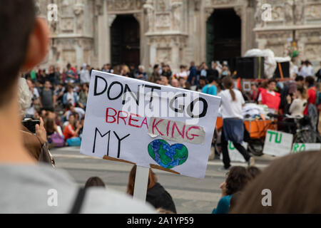 """Milan, Italy – September 27, 2019: """"Fridays For Future"""" climate change strike protest – Milano per il clima, Thousands of citizen and students protest"""
