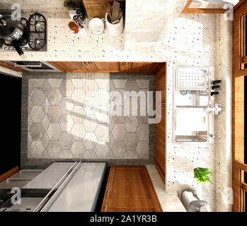 3d render of modern kitchen - Stock Photo