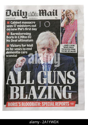 The front page of the Daily Mail from July 25 2019 with the headline All Gins Blazing about Boris Johnsons election to PM - Stock Photo