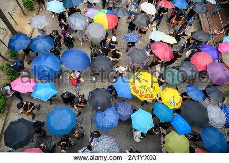 29 September 2019  Hong Kong.  Global Anti Totalitarianism March. Thousands of people took part in an unauthorized march from Causeway Bay to Admiralty in Hong Kong. - Stock Photo