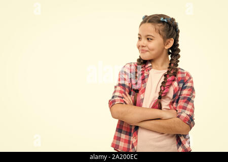Fashion trend. Child little girl colorful braids fashionable hairstyle isolated white. Teenage fashion concept. Fashionable hairstyle. Casual style fashion. Girl confidently crossed arms on chest. - Stock Photo