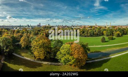 Autumn colors at the Englischer Garten of Munich, beautiful fall in a park. - Stock Photo