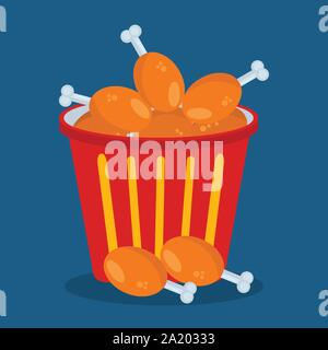 a bucket of fried chicken vector illustration - Stock Photo