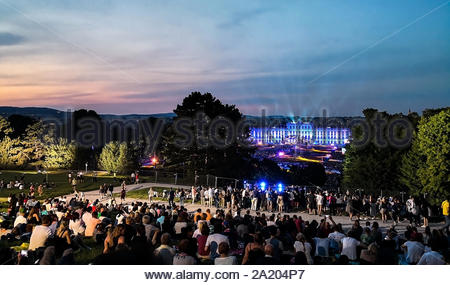 open-air concert of a Summer Night from the magnificent gardens of the Schonbrunn Palace with the Philharmonic Orchestra of Vienna in June 2018 - Stock Photo