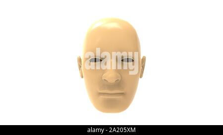 3d rendering of a human face isolated in white background - Stock Photo