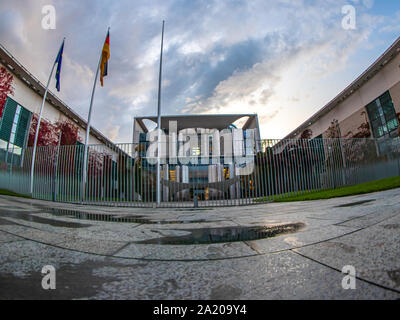 Berlin, Germany - September 28, 2019 - The Bundeskanzleramt (Federal Chancellery) of Germany in Berlin - Stock Photo