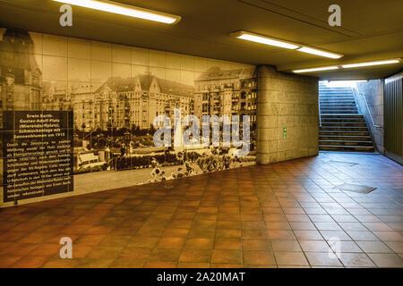 Mierendorffplatz U-Bahn underground railway station entrance hall with old photograph on the U 7 line in Charlottenburg, Berlin - Stock Photo