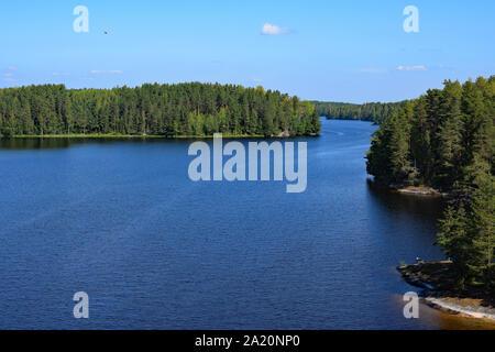 Lake Saimaa from Toijansalmi bridge, Taipalsaari, Finland. - Stock Photo