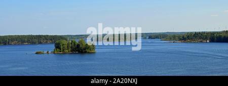 Panorama view to lake Saimaa, Finland. Photo taken from Luukkansalmi bridge, Lappeenranta. - Stock Photo