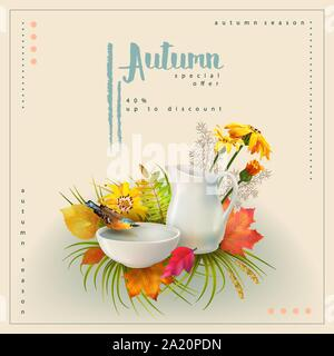 Autumn poster template with the bird, white pitcher, bouquet of flowers and fallen leaves - Stock Photo