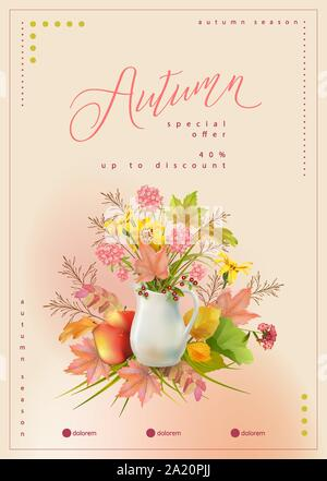 Autumn poster template with white pitcher, bouquet of flowers and autumn leaves - Stock Photo