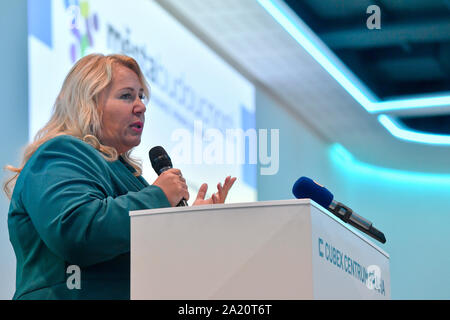 Prague, Czech Republic. 30th Sep, 2019. Regional Development Minister Klara Dostalova delivers a speech during the National conference on issues of towns and villages, smart cities concept, in Cubex Centrum Praha, Prague, Czech Republic, on Monday, September 30, 2019. Credit: Vit Simanek/CTK Photo/Alamy Live News - Stock Photo