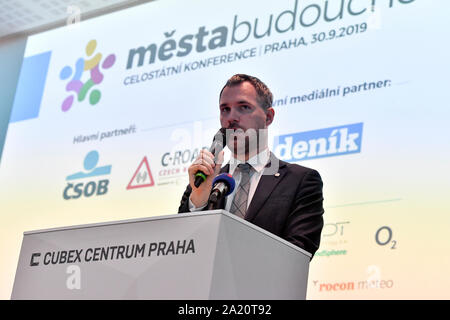 Prague, Czech Republic. 30th Sep, 2019. Prague mayor Zdenek Hrib delivers a speech during the National conference on issues of towns and villages, smart cities concept, in Cubex Centrum Praha, Prague, Czech Republic, on Monday, September 30, 2019. Credit: Vit Simanek/CTK Photo/Alamy Live News - Stock Photo