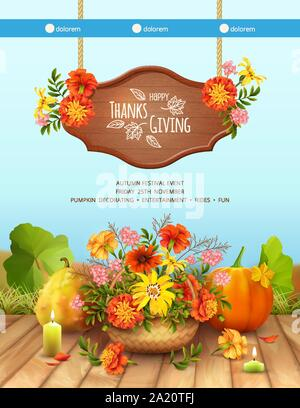 Happy Thanksgiving Card. Autumn background with a basket filled with autumn flowers, hanging sign, lighted candle, pumpkins and fallen flowers - Stock Photo