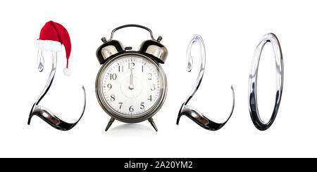 2020 with a red Christmas Santa hat, old vintage alarm clock at midnight isolated on white background, new year card - Stock Photo