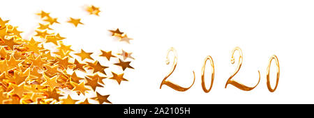 Golden numbers 2020 with little stars on white panoramic background, new year greetings web banner - Stock Photo