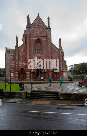 12th Century St Magnus Cathedral Broad Street Kirkwall Mainland The Orkney Isles Scotland United Kingdom exterior view of west gable facade entrance d - Stock Photo