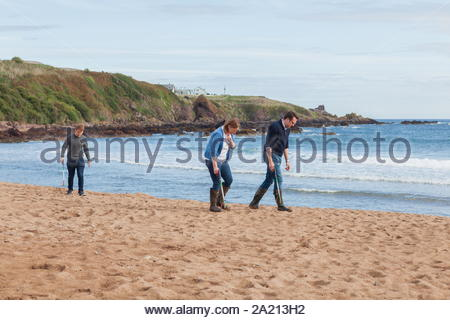 Volunteers cleaning the beach at Coldingham Bay Scotland with pick up sticks - Stock Photo