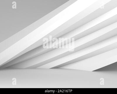 Abstract white interior with parametric installation. Minimal architectural background. 3d rendering illustration - Stock Photo