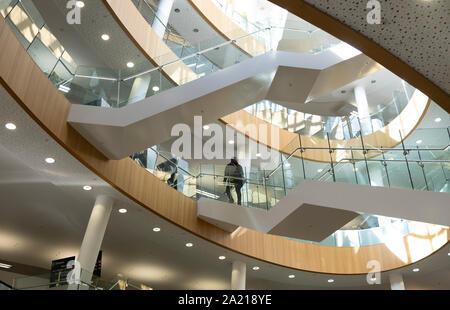 Liverpool Central Library, Liverpool, UK - overlapping staircases of glass and steel, stunning modern architecture behind a classical facade - Stock Photo
