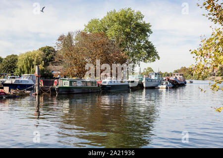 Narrow boat and houseboat moorings on the River Thames by Teddington, London, UK - Stock Photo