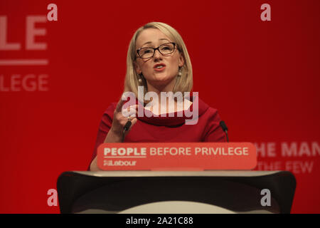 Brighton UK. - 24 September 2019, Rebecca Long Bailey Shadow  Business Secretary gives her speech at the Labour Party Conference. - Stock Photo