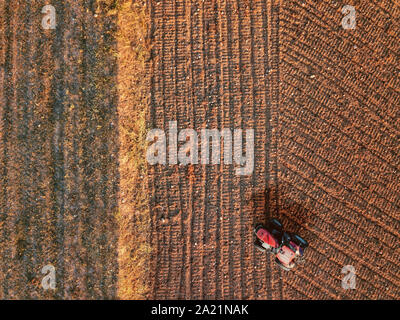 Aerial view from a drone of a tractor while tillage and ploughing in a farm land field. Top view for agriculture concept and empty copy space - Stock Photo