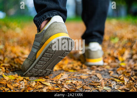 Walk on pavement in Autumn. Back view on the feet of a man walking along the pavement with fallen foilage. Abstract empty blank Autumn weather backgro