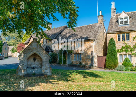 Lower Slaughter - a village in the Cotswold district of Gloucestershire, UK - Stock Photo