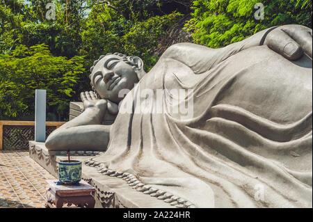 Sleeping Buddha at the Long Son Pagoda in Nha Trang. Vietnam - Stock Photo