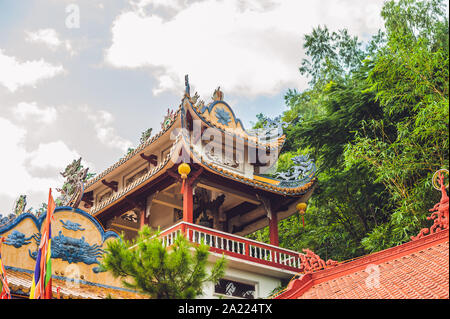 Buddhist temple in Vietnam Nha Trang, Asian architecture concept - Stock Photo