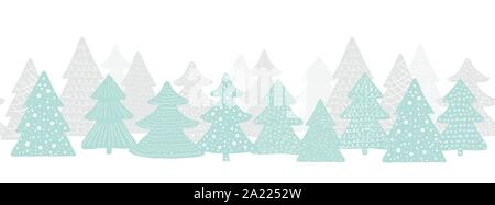 Seamless long banner with Christmas trees. Forest background. Scandinavian vector illustration - Stock Photo
