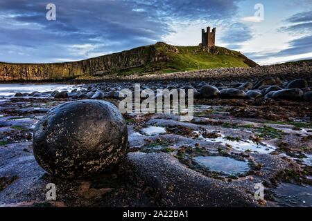Dunstanburgh Castle in Northumberland - Stock Photo