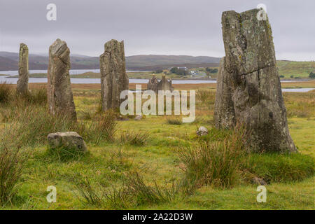 Callanish 3 stone circle is a neolithic site of historical importance on the isle of Lewis, Scotland. - Stock Photo