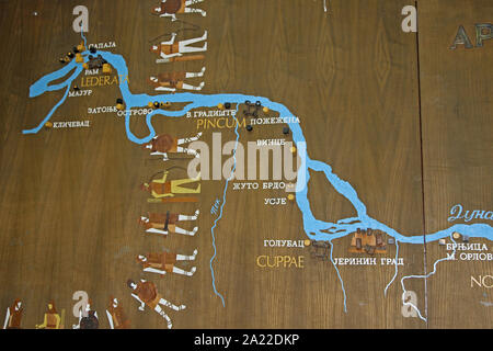 Ancient Roman map of the Danube River, translated in Serbian Cyrillic, National Archaeological Museum Djerdap, Kladovo, Serbia. - Stock Photo