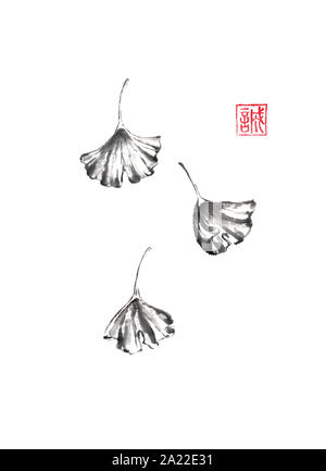 Three falling ginkgo leaves Japanese style original sumi-e ink painting. Hieroglyph featured means sincerity. Great for wall art, greeting cards, or t - Stock Photo