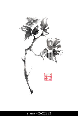 Camellia branch Japanese style original sumi-e ink painting. Hieroglyph featured means sincerity. Great for wall art, greeting cards, or texture desig - Stock Photo