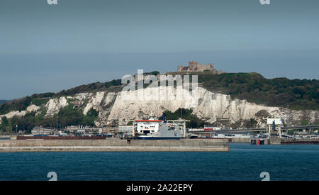Dover Kent England. The White Cliffs viewed from a cross chanel ferry to France. Sept 2019 - Stock Photo
