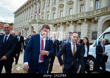 Prague, Czech Republic. 30th Sep, 2019. Tomas Petricek (l-r), Foreign Minister of the Czech Republic, and Heiko Maas (SPD), Foreign Minister, leave the office of the Czech Foreign Minister after joint talks. Credit: Gregor Fischer/dpa/Alamy Live News - Stock Photo