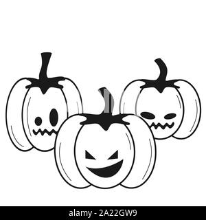 halloween black and white vector illustration with pumpkins for coloring art - Stock Photo