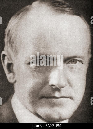 Calvin Coolidge, 1872 – 1933.  American politician, lawyer and 30th president of the United States of America.  From The Pageant of the Century, published 1934. - Stock Photo