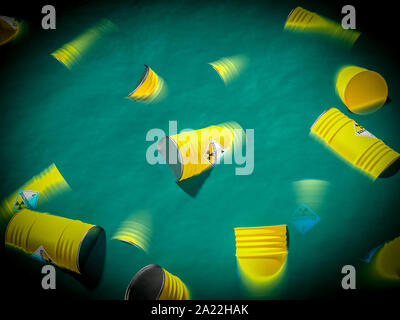containers filled with radioactive waste float in the sea. concept of environmental disaster. 3d render image - Stock Photo