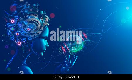 Artificial intelligence in image of cyborg girl with electronic brain. Neural network trained using a virtual hud interface. Machine learning - Stock Photo