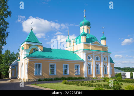 The Church of the Introduction of the Holy Virgin to the Temple in the Vvedeno-Oyatsky Monastery is sunny July day. Oyat, Lenygrad region. Russia - Stock Photo